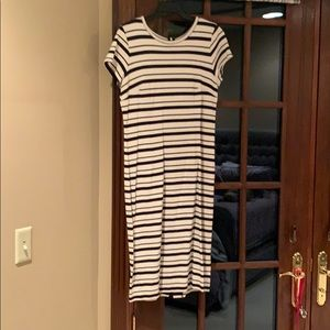 Ann Taylor navy stripe sheath dress